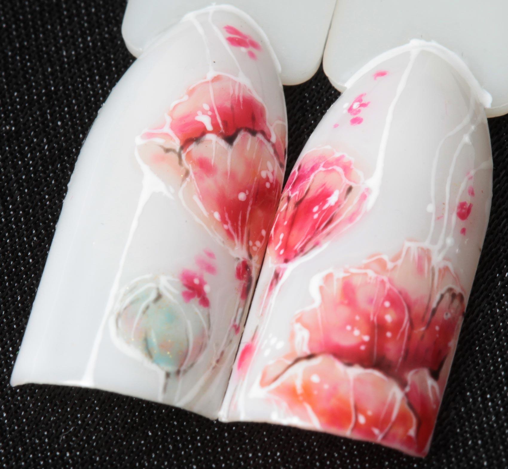 Акварельная роспись ногтей фото