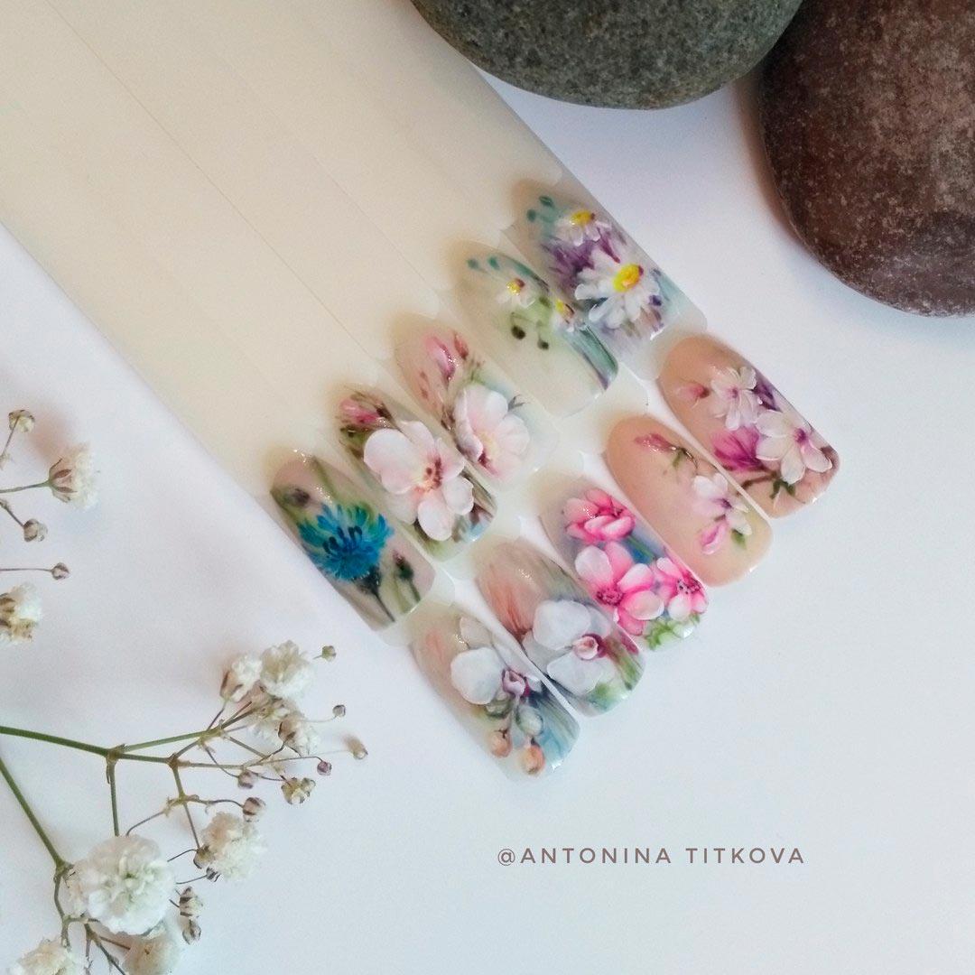 Видеоуроки по маникюру цветы
